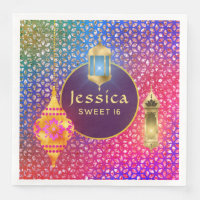 Arabian Nights Party Magic Lanterns Personalized Paper Dinner Napkin