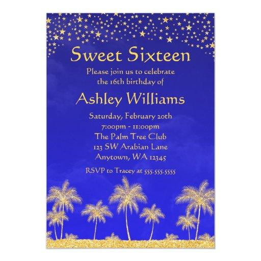 Arabian Nights Stars Sweet 16 Birthday Party Custom Invite