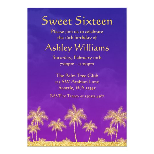 Arabian Nights Sweet 16 Birthday Party Invitation Zazzlecom