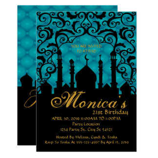 Arabian Nights, Teal Birthday Invitation
