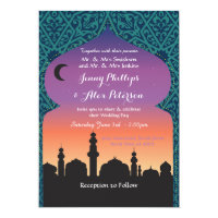 Arabian Nights Wedding Party Moroccan Teal Invite