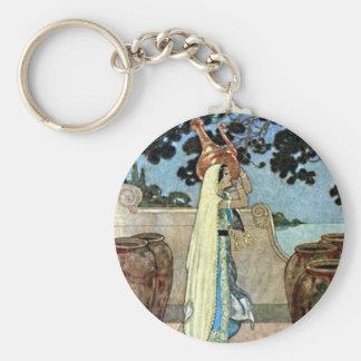 Arabian Nights Woman at the Well Illustration Keychain