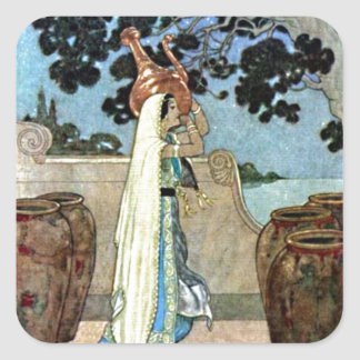 Arabian Nights Woman at the Well Illustration Square Sticker