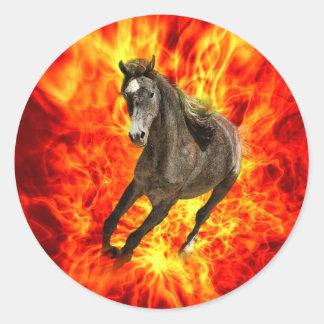 Arabian on fire round sticker