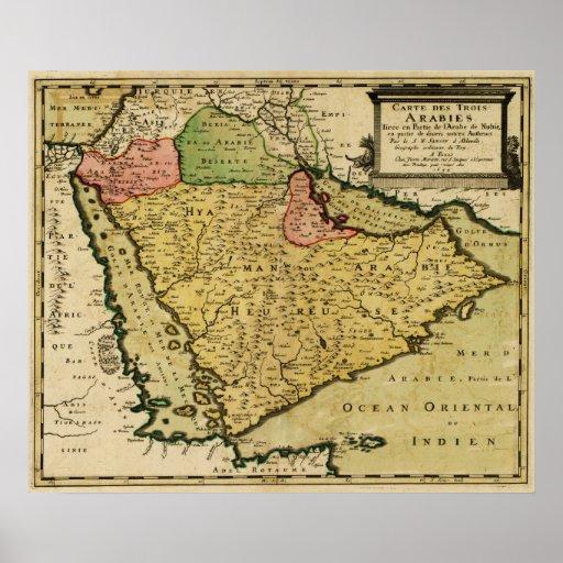 Arabian Peninsula of the Middle East Map Print
