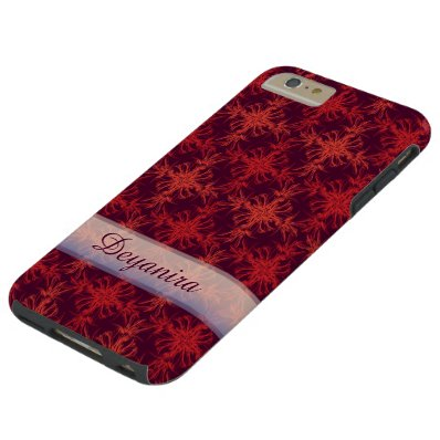 Arabian Red Damask Custom Name Tough iPhone 6 Plus Case