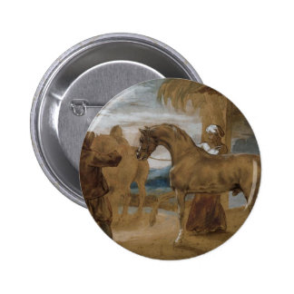 Arabian Stallion led by two Arabians to breed 2 Inch Round Button
