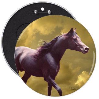 Arabian stallion Stormy sunset Button Pin