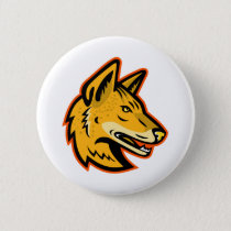 Arabian Wolf Head Mascot Button
