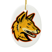 Arabian Wolf Head Mascot Ceramic Ornament