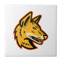 Arabian Wolf Head Mascot Ceramic Tile