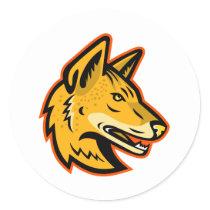 Arabian Wolf Head Mascot Classic Round Sticker