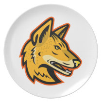 Arabian Wolf Head Mascot Dinner Plate