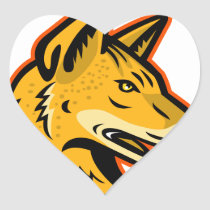Arabian Wolf Head Mascot Heart Sticker