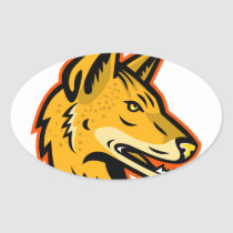Arabian Wolf Head Mascot Oval Sticker