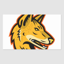 Arabian Wolf Head Mascot Rectangular Sticker