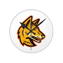 Arabian Wolf Head Mascot Round Clock