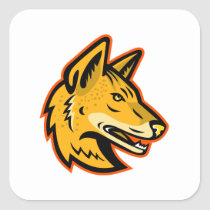 Arabian Wolf Head Mascot Square Sticker