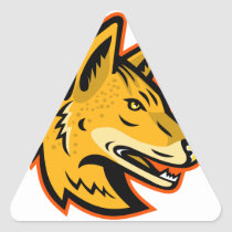 Arabian Wolf Head Mascot Triangle Sticker