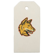 Arabian Wolf Head Mascot Wooden Gift Tags