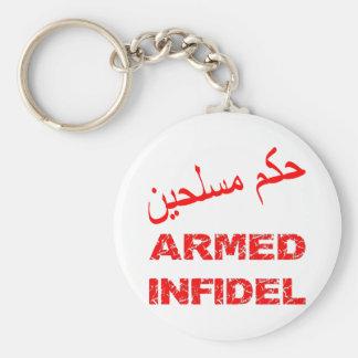 Arabic Armed Infidel Basic Round Button Keychain