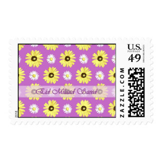Arabic Birthday Daisies on Orchid Color Stamp