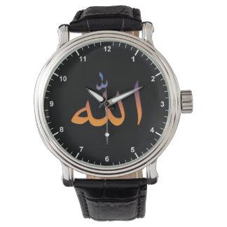 Arabic Custom Black Vintage Leather Watch