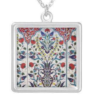 Arabic Ottoman glazed ceramic  Tile Square Pendant Necklace