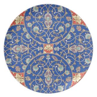 Arabic Rosette Design Blue Ornate Vintage Orange Dinner Plate