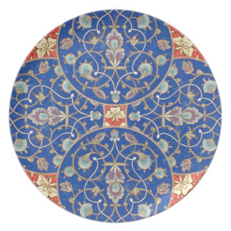 Arabic Rosette Design Blue Ornate Vintage Orange Party Plate