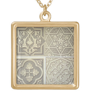Arabic tile designs (colour litho) gold plated necklace