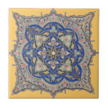 """Arabic Tile Yellow Middle Eastern Blue Gold Design<br><div class=""""desc"""">This playful tile is a modern twist on an antique Middle Eastern rosette from the late 1800&#39;s. The bold yellow gem tone accents the bold yet delicate blue design perfectly.</div>"""