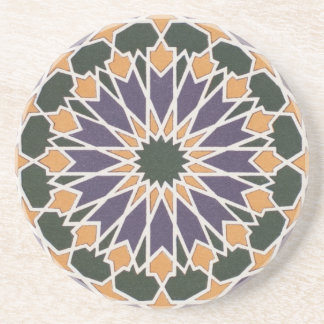 Arabic Vintage Geometric Gem Tones Coaster
