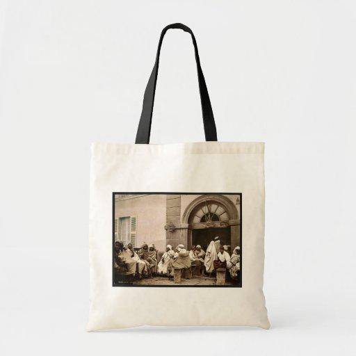 Arabs at a cafe, Algiers, Algeria vintage Photochr Bag