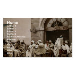 Arabs at a cafe, Algiers, Algeria vintage Photochr Business Card Template