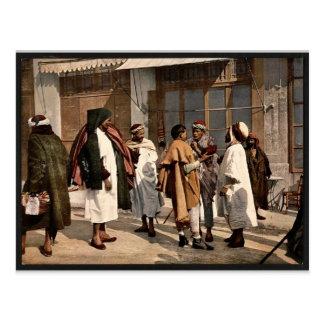 Arabs disputing, Algiers, Algeria vintage Photochr Postcard