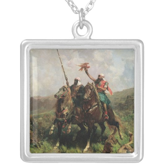 Arabs with a Falcon Silver Plated Necklace