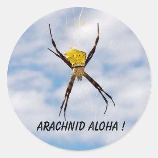 Arachnid Aloha Hawaiian Garden Spider Round Stickers