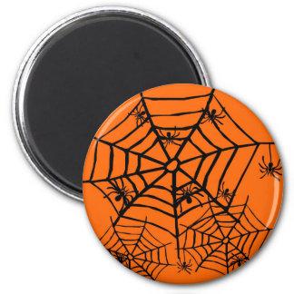 ARACHNOPHOBIA BLACK SPIDER AND WEB HALLOWEEN PRINT 2 INCH ROUND MAGNET