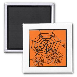 ARACHNOPHOBIA BLACK SPIDER AND WEB HALLOWEEN PRINT 2 INCH SQUARE MAGNET