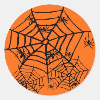 ARACHNOPHOBIA BLACK SPIDER AND WEB HALLOWEEN PRINT CLASSIC ROUND STICKER
