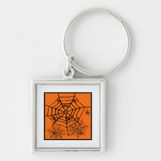 ARACHNOPHOBIA BLACK SPIDER AND WEB HALLOWEEN PRINT KEYCHAIN