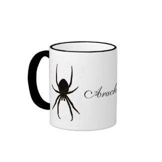 Arácnidos negros de la araña taza de dos colores