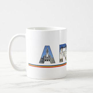 arad city romania landmark inside name symbol text coffee mug