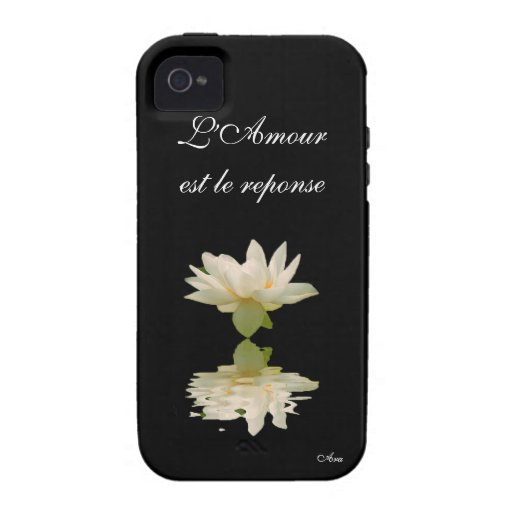 Aradesignerlotus de la respuesta del la de L'Amour iPhone 4/4S Carcasas
