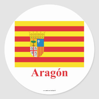 Aragón flag with name classic round sticker