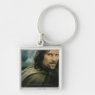 Aragorn Close Up Silver-Colored Square Keychain