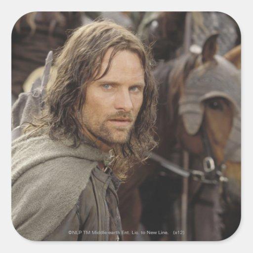 Aragorn con el caballo calcomania cuadrada personalizada