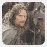 Aragorn con el caballo pegatina cuadrada