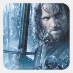 Aragorn contra Orcs Calcomanías Cuadradass